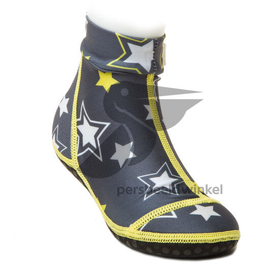Beachsocks star grey yellow front