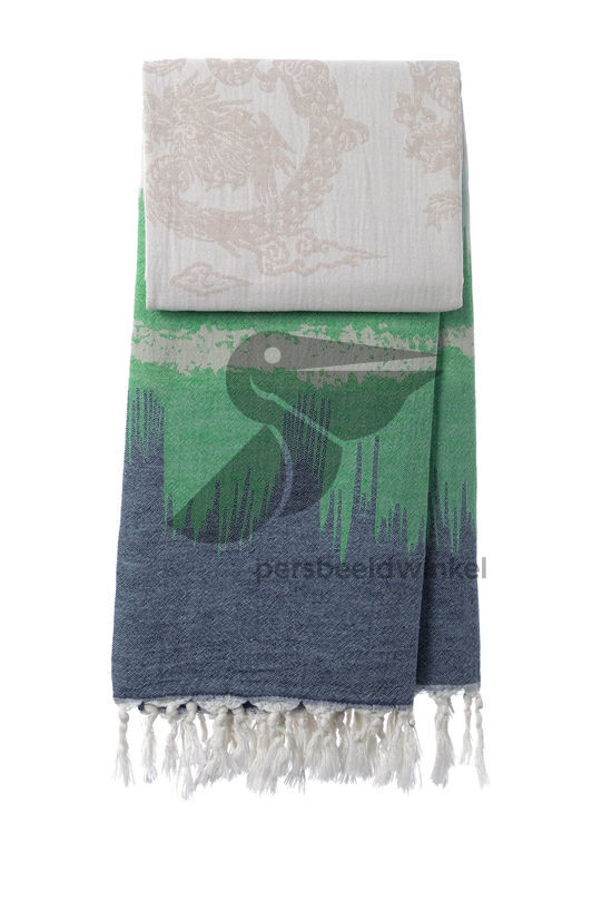 Hammamdoek Graphic Dragon - Dark Blue-Green